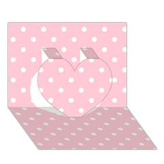 Pink Polka Dots Heart 3d Greeting Card (7x5)  by LokisStuffnMore