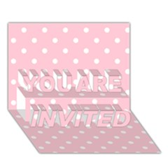 Pink Polka Dots You Are Invited 3d Greeting Card (7x5)  by LokisStuffnMore
