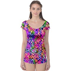 Swirly Twirly Colors Short Sleeve Leotard
