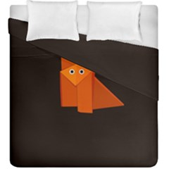 Dark Cute Origami Fox Duvet Cover (king Size)