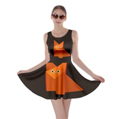 Dark Cute Origami Fox Skater Dresses