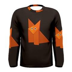 Dark Cute Origami Fox Men s Long Sleeve T Shirts