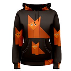 Dark Cute Origami Fox Women s Pullover Hoodies