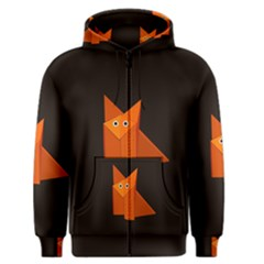 Dark Cute Origami Fox Men s Zipper Hoodies