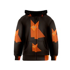 Dark Cute Origami Fox Kids Zipper Hoodies