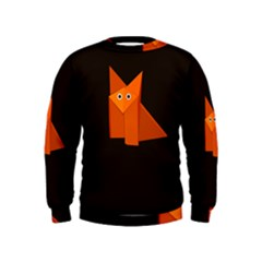 Dark Cute Origami Fox Boys  Sweatshirts