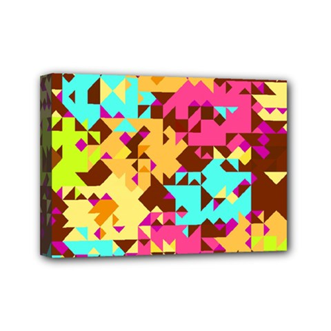Shapes In Retro Colors Mini Canvas 7  X 5  (stretched) by LalyLauraFLM