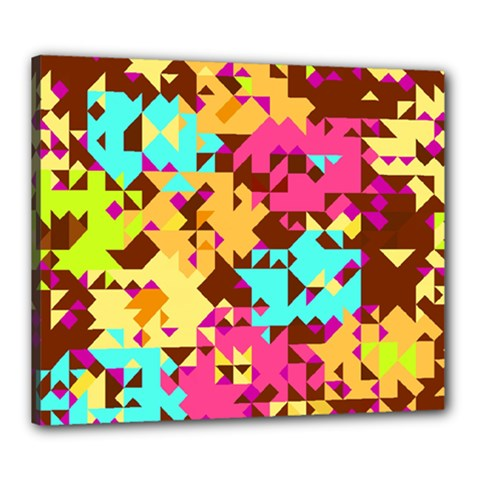 Shapes In Retro Colors Canvas 24  X 20  (stretched) by LalyLauraFLM