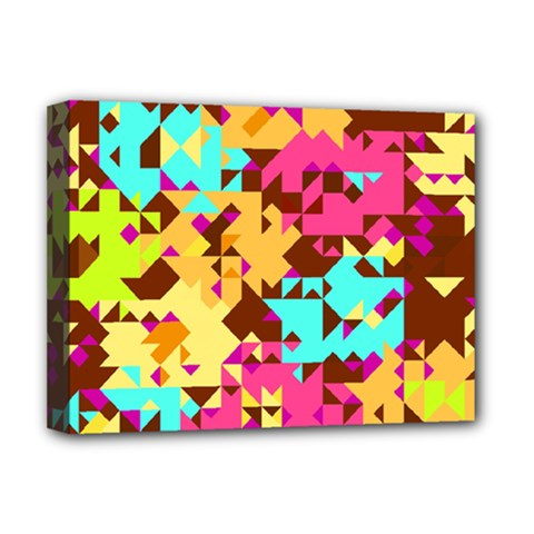 Shapes In Retro Colors Deluxe Canvas 16  X 12  (stretched)  by LalyLauraFLM
