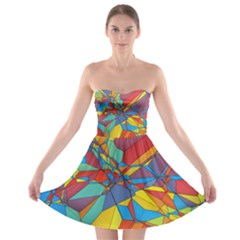 Colorful miscellaneous shapes 	Strapless Bra Top Dress by LalyLauraFLM