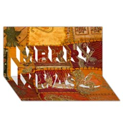 India Print Realism Fabric Art Merry Xmas 3d Greeting Card (8x4)