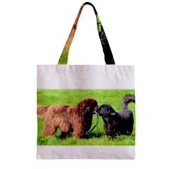 2 Newfies Zipper Grocery Tote Bags by TailWags