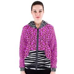 Florescent Pink Animal Print  Women s Zipper Hoodie by OCDesignss