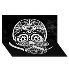 Skull Twin Heart Bottom 3d Greeting Card (8x4)  by ImpressiveMoments