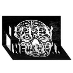 Skull Happy New Year 3d Greeting Card (8x4)