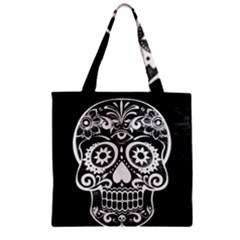 Skull Zipper Grocery Tote Bags by ImpressiveMoments