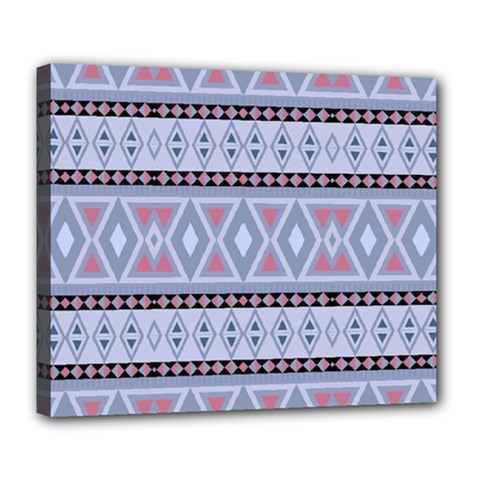 Fancy Tribal Border Pattern Blue Deluxe Canvas 24  X 20   by ImpressiveMoments