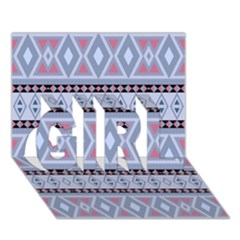 Fancy Tribal Border Pattern Blue Girl 3d Greeting Card (7x5)  by ImpressiveMoments