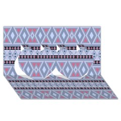 Fancy Tribal Border Pattern Blue Twin Hearts 3d Greeting Card (8x4)