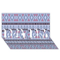 Fancy Tribal Border Pattern Blue Best Bro 3d Greeting Card (8x4)  by ImpressiveMoments