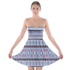 Fancy Tribal Border Pattern Blue Strapless Bra Top Dress by ImpressiveMoments