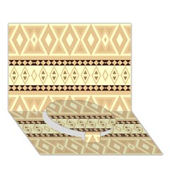 Fancy Tribal Border Pattern Beige Circle Bottom 3d Greeting Card (7x5)