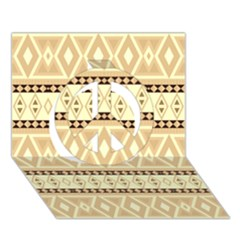 Fancy Tribal Border Pattern Beige Peace Sign 3d Greeting Card (7x5)  by ImpressiveMoments