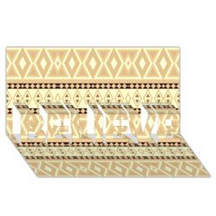 Fancy Tribal Border Pattern Beige Believe 3d Greeting Card (8x4)  by ImpressiveMoments