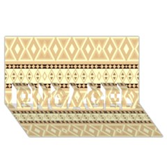 Fancy Tribal Border Pattern Beige Engaged 3d Greeting Card (8x4)  by ImpressiveMoments