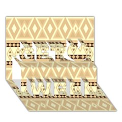 Fancy Tribal Border Pattern Beige Get Well 3d Greeting Card (7x5)  by ImpressiveMoments