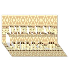 Fancy Tribal Border Pattern Beige Merry Xmas 3d Greeting Card (8x4)  by ImpressiveMoments
