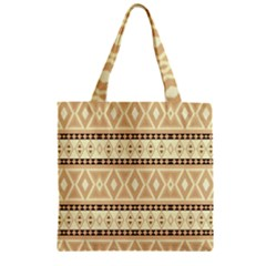 Fancy Tribal Border Pattern Beige Zipper Grocery Tote Bags