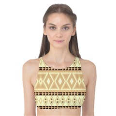 Fancy Tribal Border Pattern Beige Tank Bikini Top