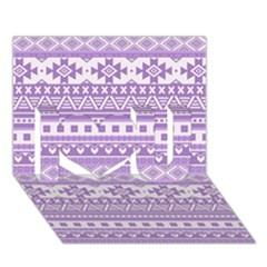 Fancy Tribal Borders Lilac I Love You 3d Greeting Card (7x5)  by ImpressiveMoments