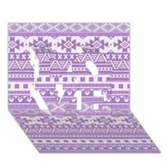 Fancy Tribal Borders Lilac Love 3d Greeting Card (7x5)  by ImpressiveMoments