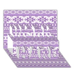 Fancy Tribal Borders Lilac Work Hard 3d Greeting Card (7x5)  by ImpressiveMoments