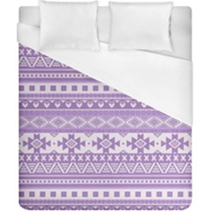 Fancy Tribal Borders Lilac Duvet Cover Single Side (Double Size) by ImpressiveMoments