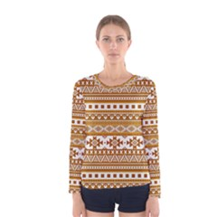Fancy Tribal Borders Golden Women s Long Sleeve T Shirts by ImpressiveMoments