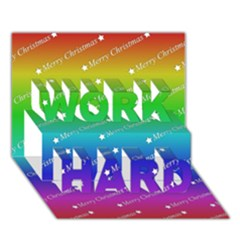 Merry Christmas,text,rainbow Work Hard 3d Greeting Card (7x5)  by ImpressiveMoments