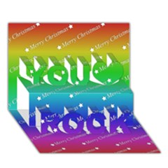 Merry Christmas,text,rainbow You Rock 3d Greeting Card (7x5)
