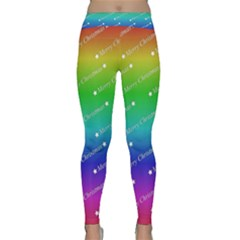 Merry Christmas,text,rainbow Yoga Leggings by ImpressiveMoments