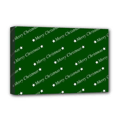 Merry Christmas,text,green Deluxe Canvas 18  X 12   by ImpressiveMoments