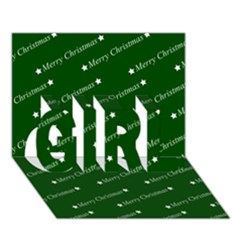 Merry Christmas,text,green Girl 3d Greeting Card (7x5)  by ImpressiveMoments