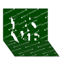 Merry Christmas,text,green Love 3d Greeting Card (7x5)  by ImpressiveMoments