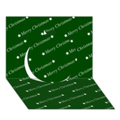Merry Christmas,text,green Circle 3d Greeting Card (7x5)  by ImpressiveMoments