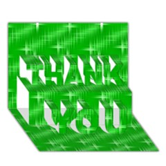 Many Stars, Neon Green Thank You 3d Greeting Card (7x5)
