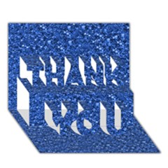 Sparkling Glitter Blue Thank You 3d Greeting Card (7x5)