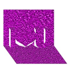 Sparkling Glitter Hot Pink I Love You 3D Greeting Card (7x5)