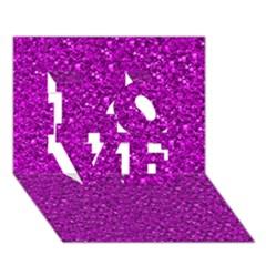 Sparkling Glitter Hot Pink Love 3d Greeting Card (7x5)