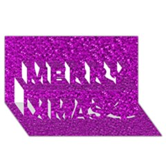 Sparkling Glitter Hot Pink Merry Xmas 3d Greeting Card (8x4)  by ImpressiveMoments